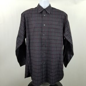 John W. Nordstrom Black Gray Check Dress Shirt M